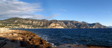 Panoramic seascape. Panorama Beaulieu s Mer, Eze, Cap d'Ail, Monaco Royalty Free Stock Image