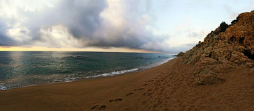 Panoramic seascape of beach at Costa Brava, Spain Royalty Free Stock Photos