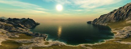 Panoramic seascape. rocky lagoon view from the heights Stock Photography