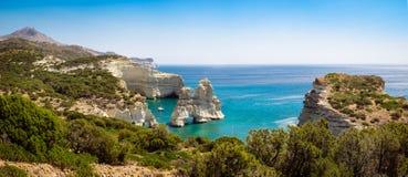 Panoramic seascape view of Kleftiko rocky coastline on Milos isl Royalty Free Stock Photos
