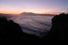 Panoramic seascape view on mountain jaizkibel on atlantic ocean in sunset, basque country, france. Panoramic seascape view in vivid colors on mountain jaizkibel Stock Photo