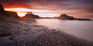 Panoramic seascape of Virxe do Porto chapel Royalty Free Stock Photography