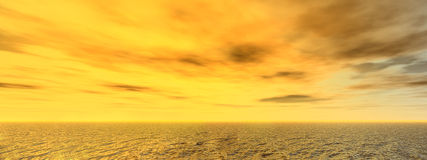 Panoramic seascape in yellow light background. Royalty Free Stock Photos