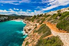 Panoramic seaside landscape view of bay of Cala Romantica beach on Majorca, Spain. Mallorca beach Cala Romantica with beautiful coastline sea view, Spain Royalty Free Stock Photos