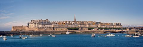 Panoramic seaside view of Saint Malo, Brittany France. Panoramic seaside view of Saint Malo, Brittany, France stock photography