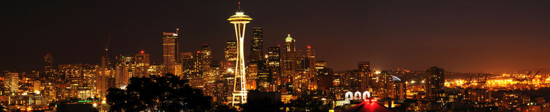 Panoramic Seattle downtown skyline Stock Photography