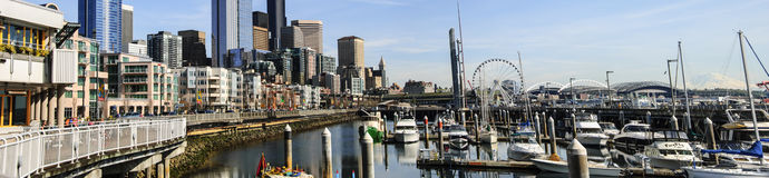 Panoramic Seattle Waterfront looking south from pier 66 Stock Photo
