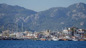 Seaview of Marmaris marina and old town stock video