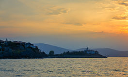 Panoramic seaview at sunset. Panoramic evening view at sunset with dramatic clouds in sozopol, bulgaria Royalty Free Stock Photos