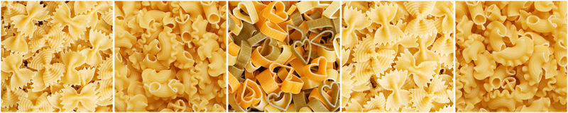 Panoramic set of pasta image Stock Images