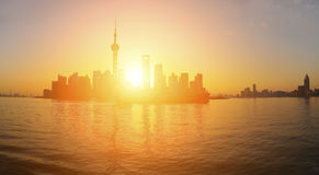 Panoramic at  Shanghai bund skyline of dawn. Panoramic at  Shanghai bund landmark skyline of dawn Stock Images