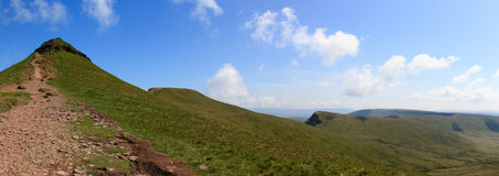Panoramic shot of Corn du, Pen y Fan, Cribyn and across towards Fan y Big in the Brecon Beacons National Park Stock Photos
