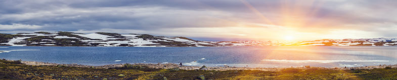 Panoramic Shot Of Beautiful sunrise scene over mountain Stock Photos