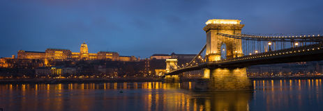 Panoramic shot of the Chain Bridge. Royalty Free Stock Images