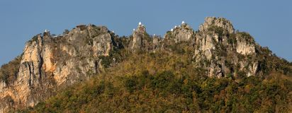 Panoramic view of mountain and temples Royalty Free Stock Image