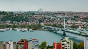 Cityscape Istanbul, Turkey with three bridges over Golden Horn gulf