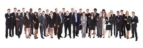 Panoramic shot of confident businesspeople. Confident business people standing against white background Stock Images