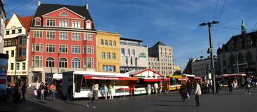 A panoramic shot of downtown Halle, Germany. A panoramic shot of city center (downtown )Halle, Germany. A nice sunny day with local market at Halle (Saale Royalty Free Stock Photos