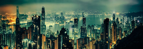 Panoramic shot of evening hong kong Royalty Free Stock Photos