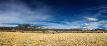 Flat prairie leading to mountains under a blue sky. Panoramic shot of flat brown prairie grass leading to distant mountains under a blue sky Royalty Free Stock Image
