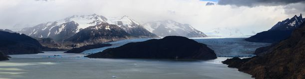 A panoramic shot of Glacier Grey feeding into Lago Grey in Torres del Paine National Park in Patagonia royalty free stock photography