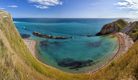 Panoramic shot of Jurassic Coast near Lulworth in Dorset, England Stock Images