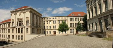 A panoramic shot of MLU Halle, Germany Royalty Free Stock Photography