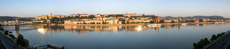 Panoramic shot of the morning in Budapest. The capital of Hungary. Panoramic shot of the morning in Budapest royalty free stock photo
