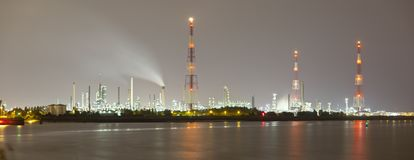 Refinery At Night Panorama Stock Image