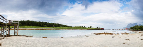 Panoramic shot of Norwegian seaside during lowtide Royalty Free Stock Images