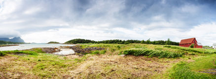 Panoramic shot of Norwegian seaside Stock Photos