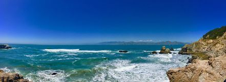 Free Panoramic Shot Of Beautiful Sea Waves Surrounded By Cliffs Under The Blue Sky Stock Image - 162316821