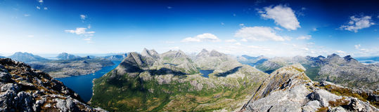 Panoramic shot from a peak in Northern Norway Royalty Free Stock Photography