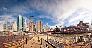 Panoramic shot of Pier 17 in New York Royalty Free Stock Photo