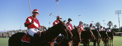Panoramic shot of polo players and umpire on horses at field royalty free stock photography