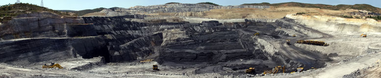 Panoramic shot of a quarry coal. Royalty Free Stock Images