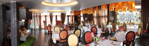 Panoramic shot of  restaurant Stock Photo