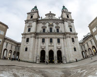 Panoramic shot of Salzburg Cathedral (Salzburger Dom) Royalty Free Stock Photography