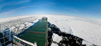 Panoramic shot of a ship navigating in ice. Royalty Free Stock Photography