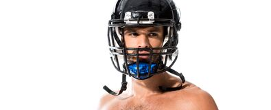 Shot of shirtless American Football player in helmet Isolated On White