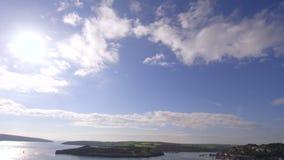 Panoramic shot of sky to coastline stock footage