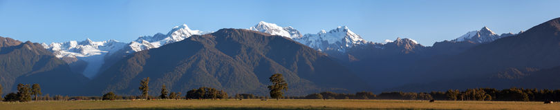 Panoramic shot of Southern Alps, New Zealand. Large resolution Stock Photo