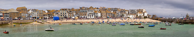 Panoramic shot of at St Ives harbour Cornwall England UK Royalty Free Stock Photos
