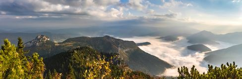 Amazing slovak mountain landscape with low clouds Royalty Free Stock Images