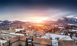 Panoramic shot of sunset over the  snowy Alps next to Salzburg Royalty Free Stock Photos