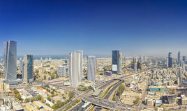 Panoramic Shot Of Tel Aviv And Ramat Gan Skyline. At Day.  Tel Aviv Cityscape Aerial View Royalty Free Stock Images
