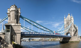 Panoramic shot of Tower Bridge. LONDON, UK - APRIL 30: Panoramic shot of Tower Bridge. April 30, 2012 in London. The iconic bridge was completed in 1894 Stock Images