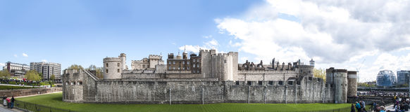 Panoramic shot of the Tower of London Royalty Free Stock Photography