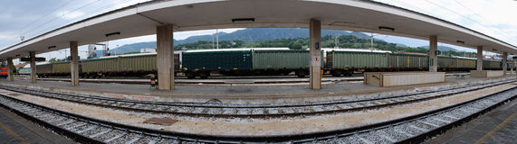 Panoramic shot of train station Royalty Free Stock Photography