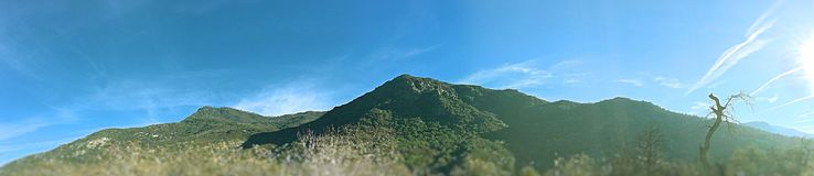 Panoramic Shot of a twin hill stock images